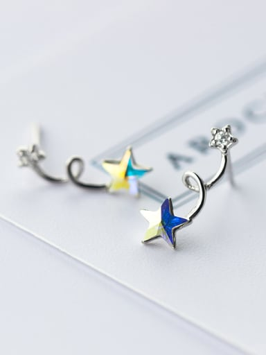 S925 Silver Fashion Sweet Color Star Stud cuff earring