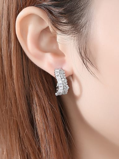 copper With Cubic Zirconia Personality Irregular Stud Earrings