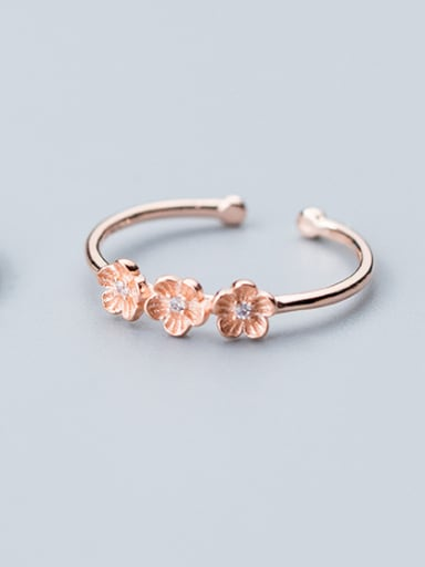 925 Sterling Silver With Rose Gold Plated Romantic Flower Rings