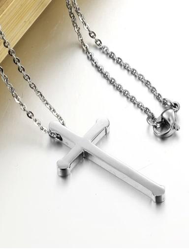 Simple Cross Titanium Smooth Unisex Necklace