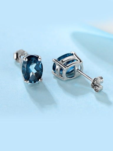 Blue Zircon stud Earring