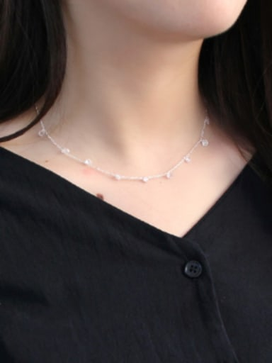 Fashion White Cubic Crystals Silver Necklace