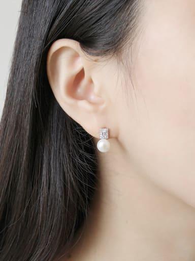Sterling Silver temperament, wild Pearl Pearl Earrings