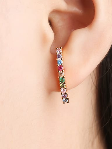 Copper With  Cubic Zirconia Classic Stud Earrings