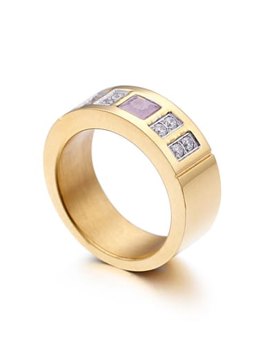 Stainless Steel With Gold Plated Trendy Square Multistone Rings