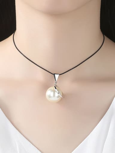 Copper With artificial pearl Fashion Ball Necklaces