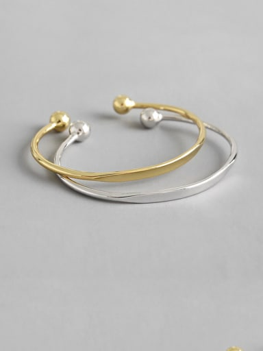 925 Sterling Silver With Glossy Simplistic Round  Opening Bangles