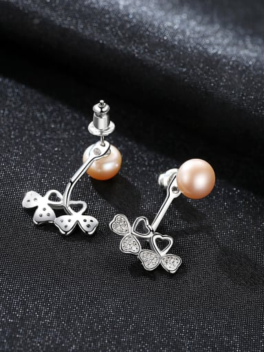 925 Sterling Silver With Platinum Plated Simplistic Flower Drop Earrings