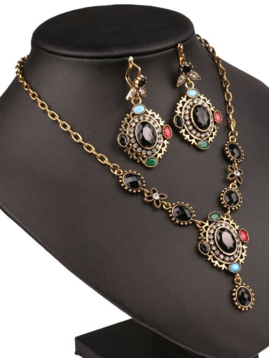 Ethnic style Oval Resin stones Alloy Two Pieces Jewelry Set