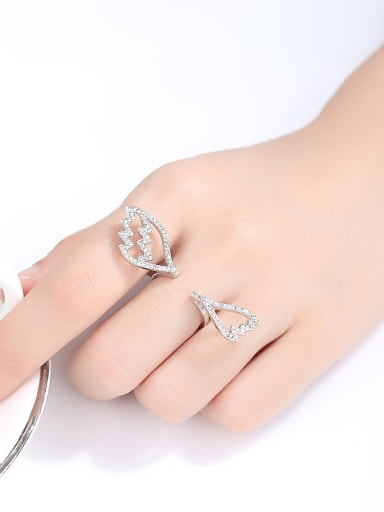 Copper With Platinum Plated  Cubic Zirconia Fashion Statement Rings