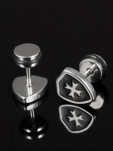 Tiny Shield Cross Titanium Stud Earrings