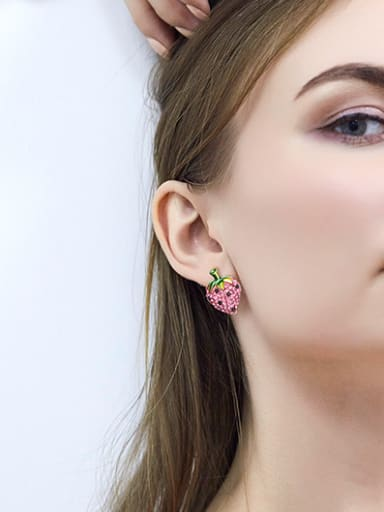 Fashion Strawberry Shiny Zirconias Copper Stud Earrings
