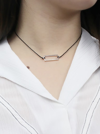 Simple Hollow Rectangular Pendant Black Rope Necklace