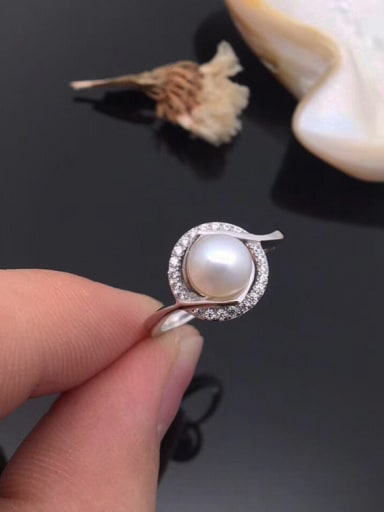 Freshwater Pearl Zircon Round Ring
