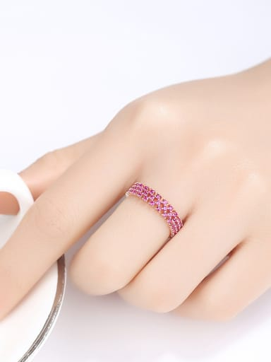 925 Sterling Silver With Cubic Zirconia Simplistic Multiple rows Band Rings