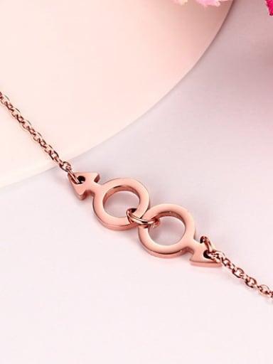 Exquisite Rose Gold Plated Round Shaped Titanium Bracelet
