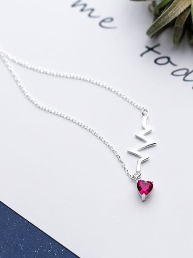 Exquisite Pink Heart Shaped Zircon S925 Silver Necklace