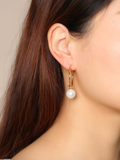 Stainless Steel With Gold Plated Simplistic Round Clip On Earrings