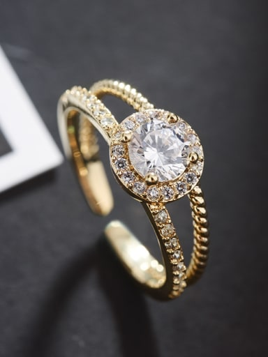 Fashion double layer micro-inlaid zircon free size ring
