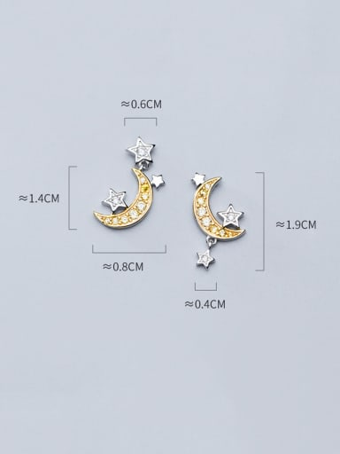 925 Sterling Silver With Platinum Plated Cute Moon Stud Earrings