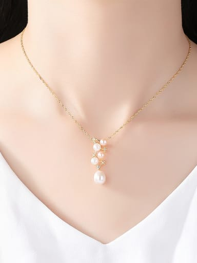 Sterling silver natural 5-5.5mm 8-9mm pearl necklace