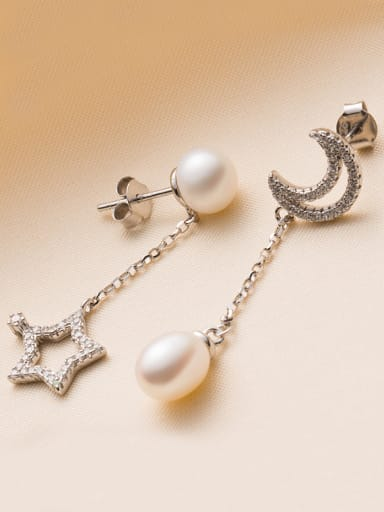 Moon Star Freshwater Pearl Drop threader earring