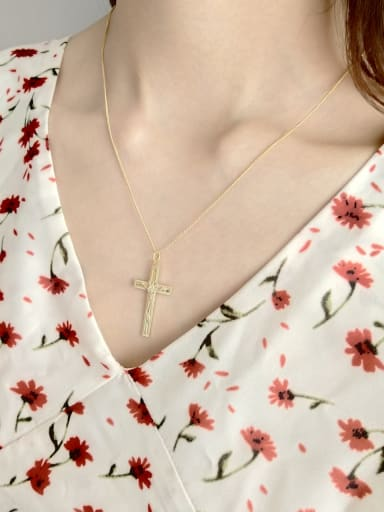 Pure silver gold plated cross Jesus Necklace