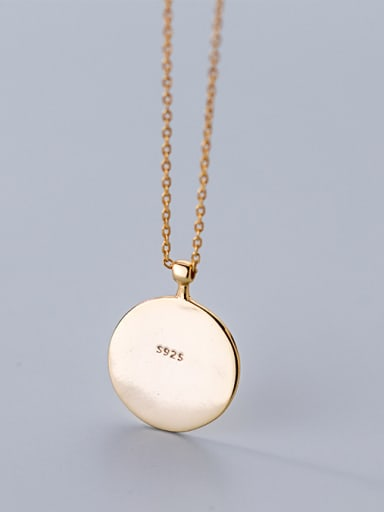 925 Sterling Silver With 18k Gold Plated Trendy Face Necklaces