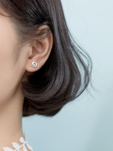 925 Sterling Silver With Platinum Plated Cute snails  Stud Earrings