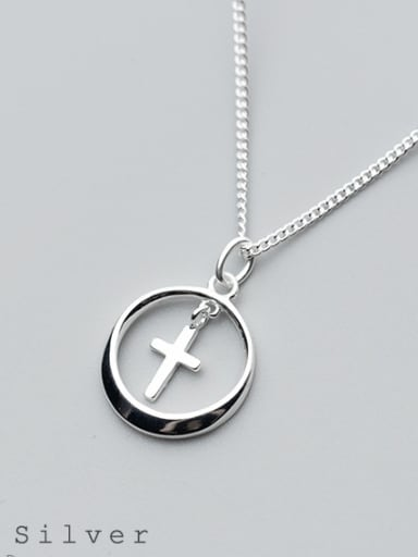 S925 Silver Necklace Pendant female fashion simple circular cross necklace round necklaces D4295