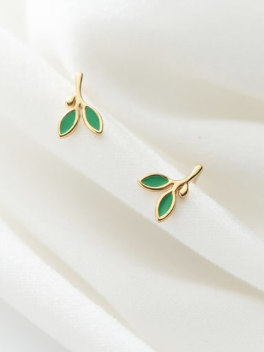 925 Sterling Silver With Gold Plated Simplistic Leaf Stud Earrings