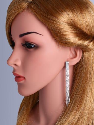 Copper With Cubic Zirconia Trendy Tassel ear clip