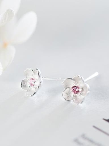 S925 Silver Sweet Sakura Flower Pink Zircon stud Earring