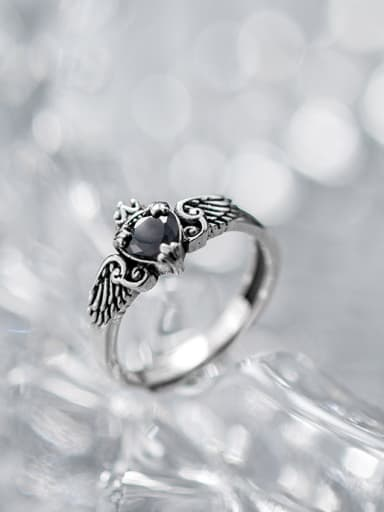 Pure silver  Thai silver  retro heart shaped wing  crown ring