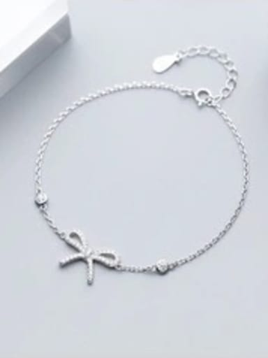 925 Sterling Silver With Silver Plated Cute Bowknot Bracelets