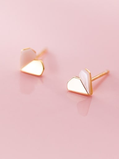 925 Sterling Silver With Gold Plated Cute Heart Stud Earrings