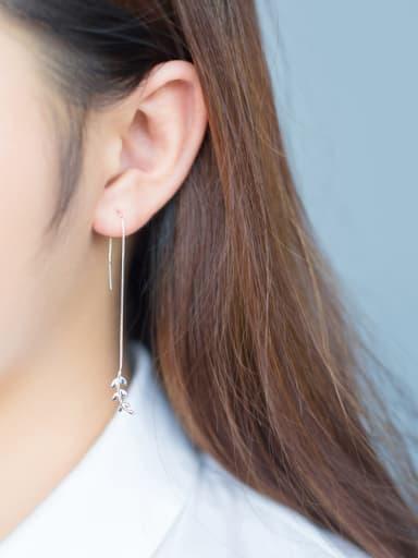S925 silver sweet asymmetric leaves line threader earring