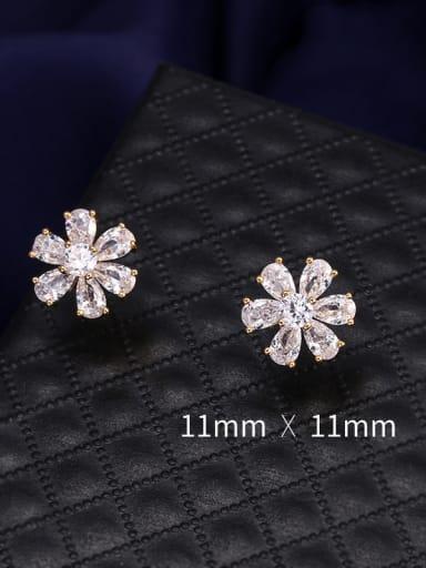 Copper With Cubic Zirconia Cute Flower Stud Earrings