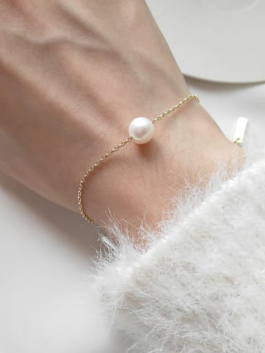 Pure silver synthetic pearl simple line Bracelet