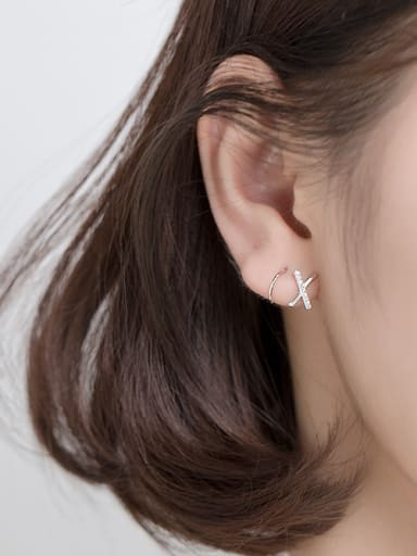 925 Sterling Silver With Platinum Plated Simplistic Irregular Hook Earrings