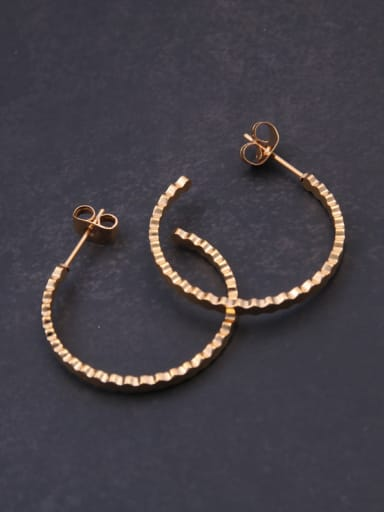 Titanium With Rose Gold Plated Simplistic  Irregular Polygon  Hoop Earrings