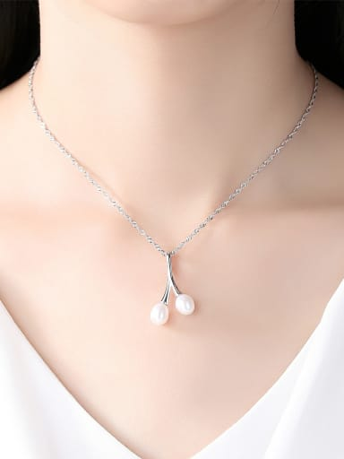 Pure silver  natural pearls  minimalist design style necklace