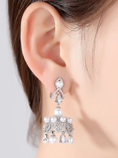 Copper With 3A cubic zirconia Luxury Crown Chandelier Earrings