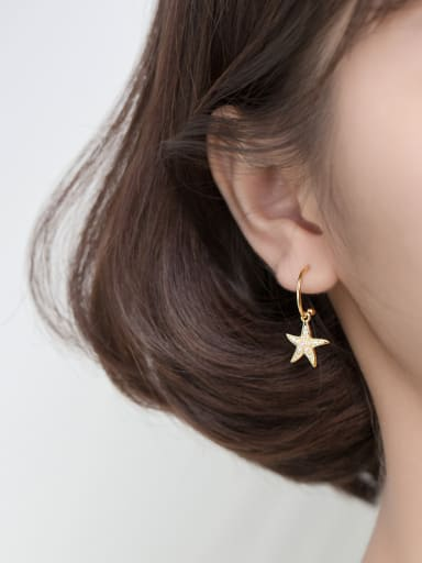 925 Sterling Silver With Gold Plated Simplistic Star Hook Earrings