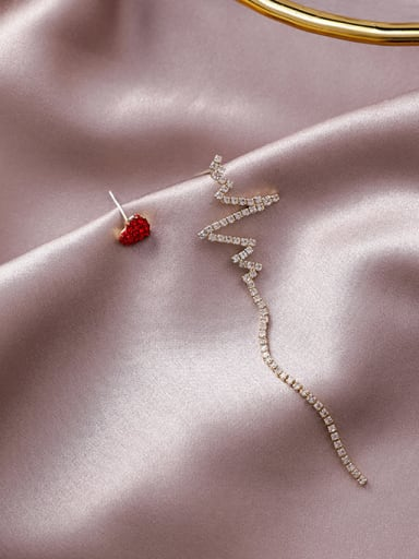 Alloy With Gold Plated Simplistic Heart Threader Earrings