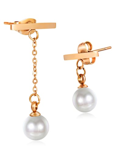Stainless Steel With Rose Gold Plated Trendy  unsymmetric Round Stud Earrings