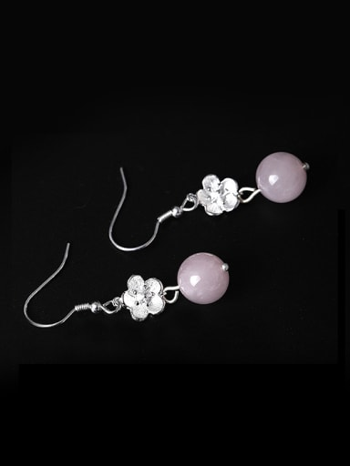 Retro style Crystal Beads Little Flower 925 Silver Earrings