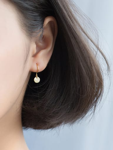 All-match Gold Plated Round Shaped Silver Drop Earrings