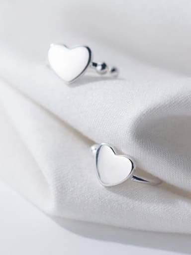 925 Sterling Silver With Silver Plated Simplistic Heart Clip On Earrings