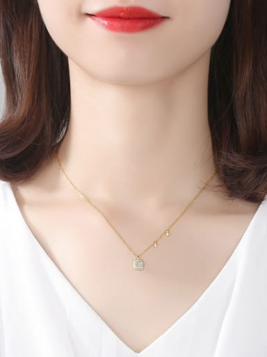 Sterling silver inlaid with 3A zircon square Necklace